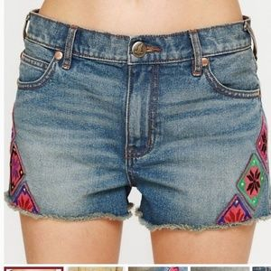 Free People Moroccan Patch Jean Shorts 27